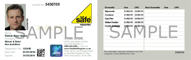Gas Safe Register ID card