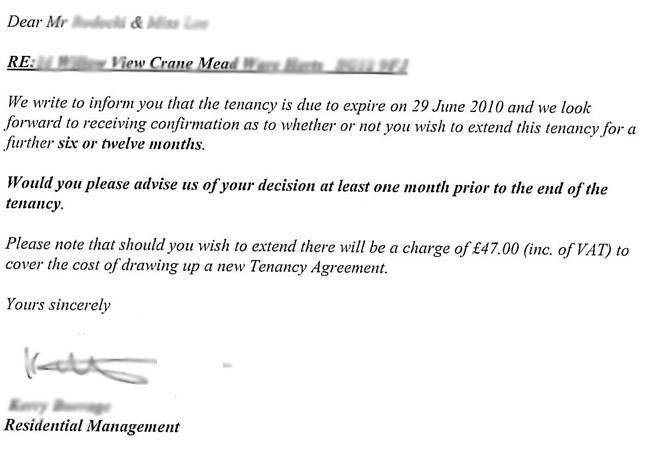 tenancy renewal fee letter