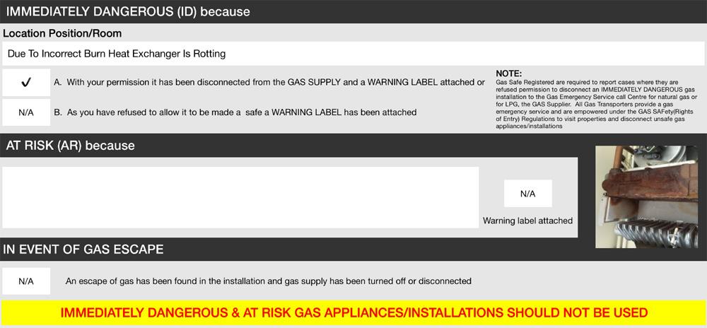Gas Safety Fail
